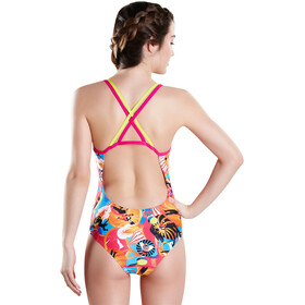 speedo Solar Pavola Double Crossback Dame Lime Punch/Electric Pink/Lava Red